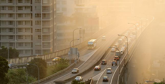 foto de cidade com particulado em suspensao